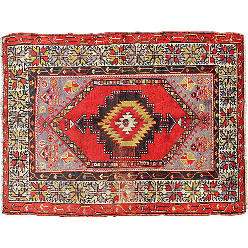 "Turkish Oushak Rug, 3'7"" x 4'10"""