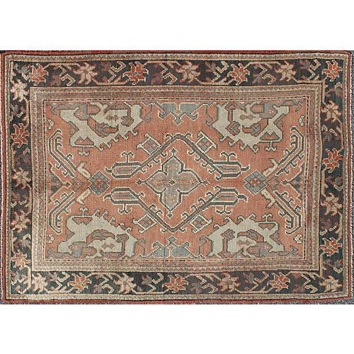 """Antique Turkish Oushak Rug, 5'3"""" x 7'10"""""""