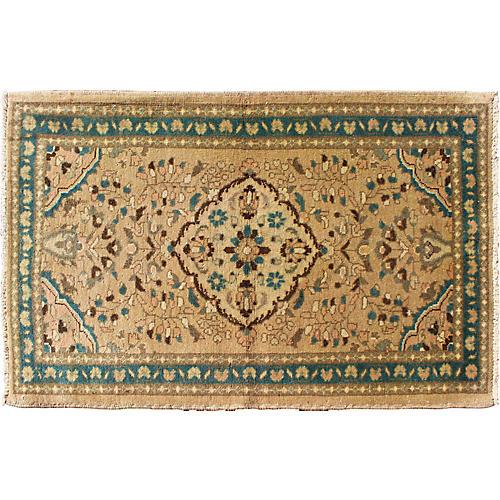 """Vintage Persian Rug w/ Teal, 2'8"""" x 4'3"""""""