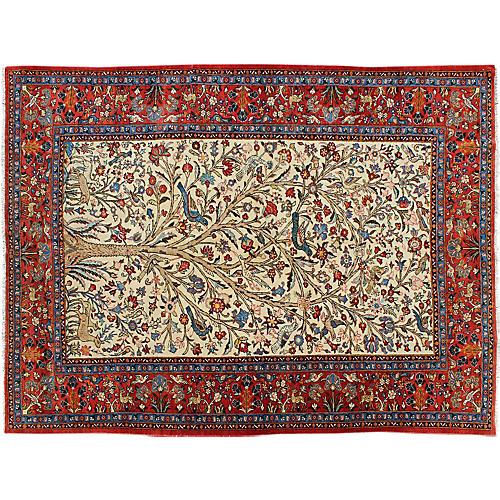 """Antique Persian Qum Rug, 6'8"""" x 9'8"""""""