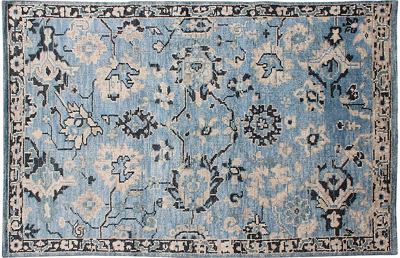 Blue Oushak Rug, 5' x 8'