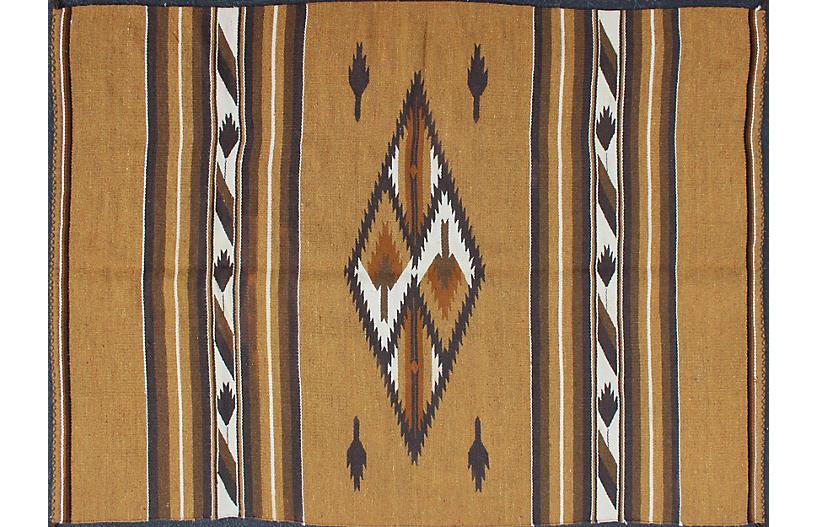 Vintage Gold Navajo Rug 5'2 x 7'6