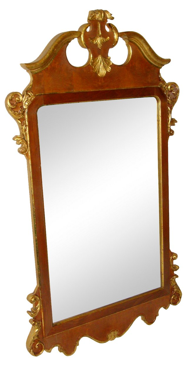 Walnut & Gilt Mirror