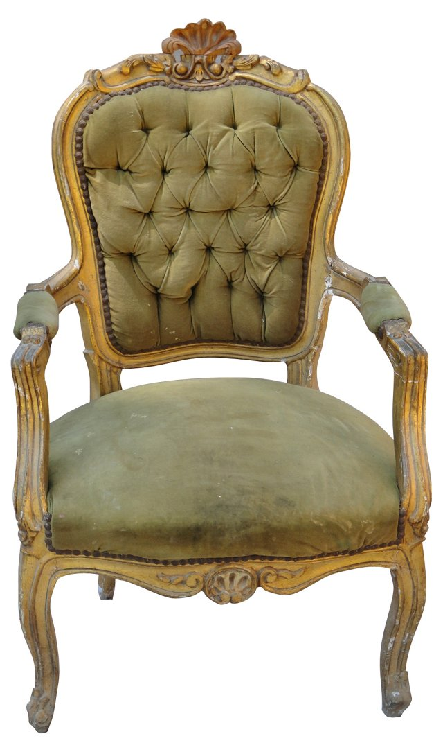 19th-C. French Louis XV-Style  Fauteuil