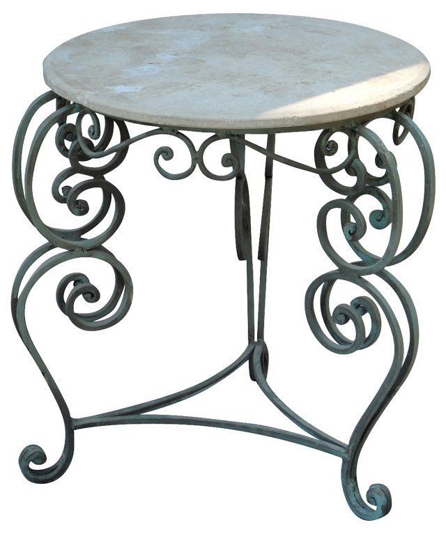 Wrought Iron & Limestone Table