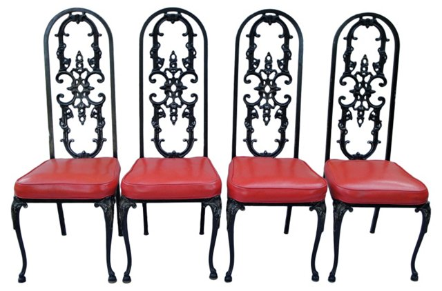 Wrought Iron Garden Chairs, Set of 4