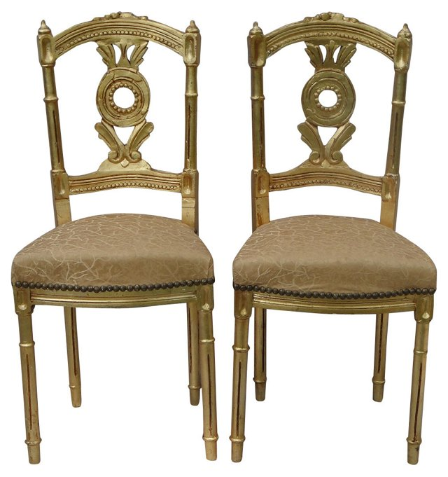French Giltwood  Side Chairs, Pair