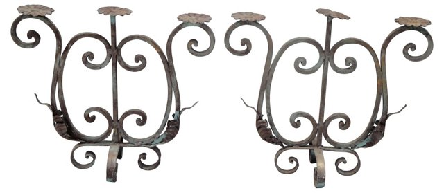 Iron Candelabra, Pair