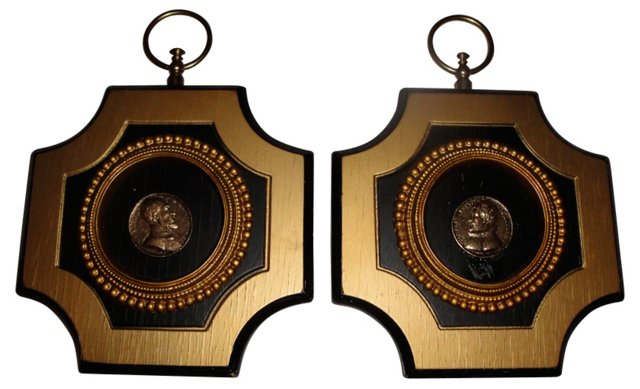 Black Gilt Coin Plaques, Pair