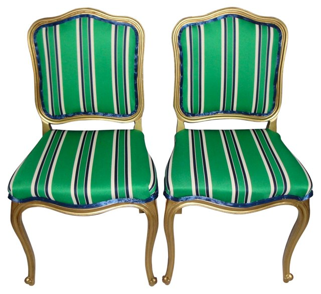 Tuxedo-Striped Gilt Side Chairs, Pair