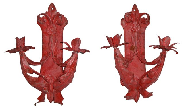 Wrought Iron Red Wall Sconces, Pair
