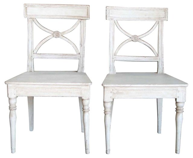 Country Gustavian Chairs, Pair