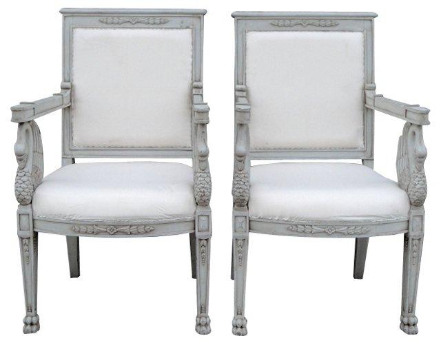 Swedish Swan  Armchairs, Pair