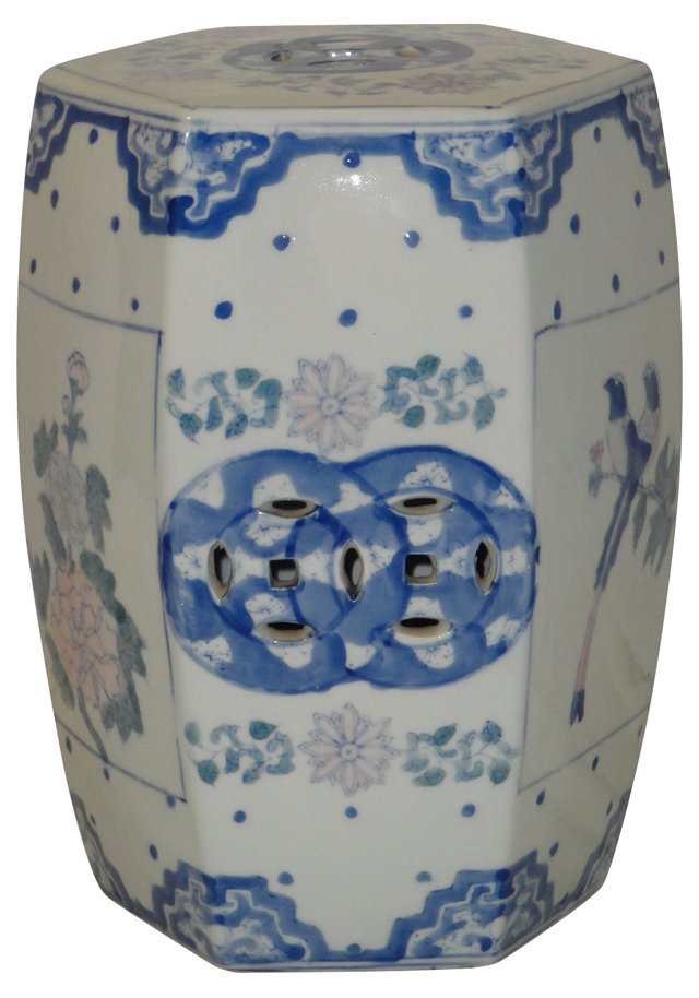 Chinese Blue & White Garden Stool