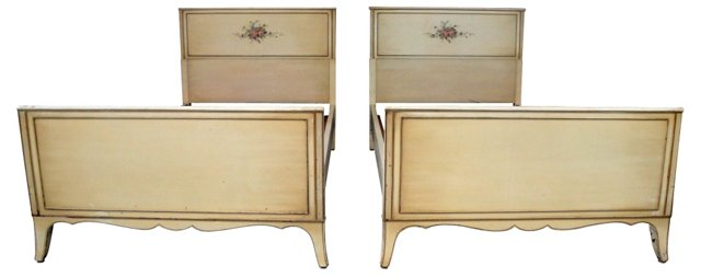 French-Style Twin-Size Beds, Pair