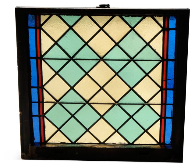 1920s Stained Glass Geometric Window
