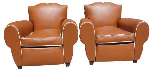 French Art Deco  Club Chairs,  Pair