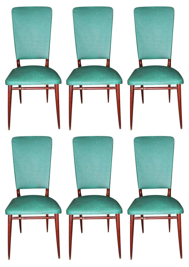 French Mahogany Dining Chairs, S/6