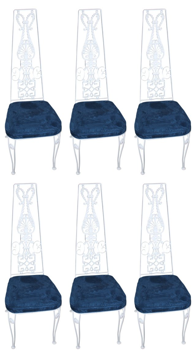 French Iron Dining Chairs, S/6