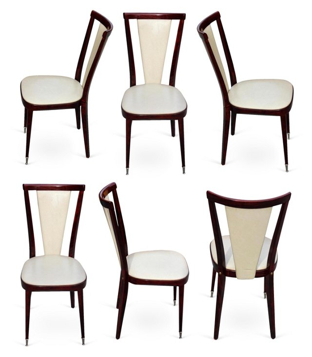 French Art Deco  Dining     Chairs, S/6