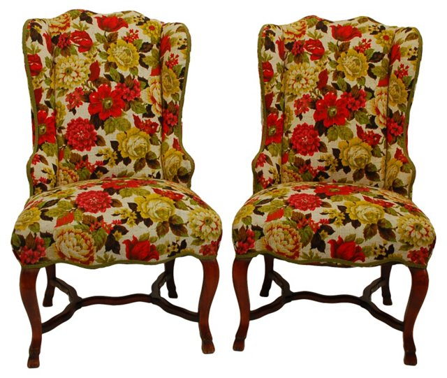 Wingbacks w/ Floral Upholstery, Pair