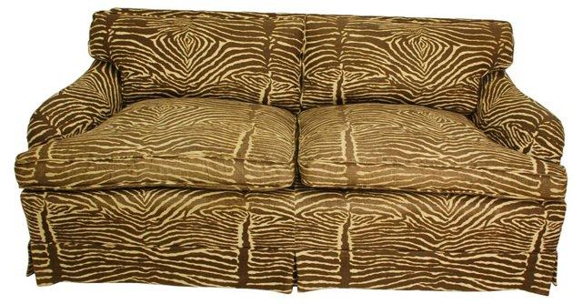 Zebra-Print  Down-Filled Sofa