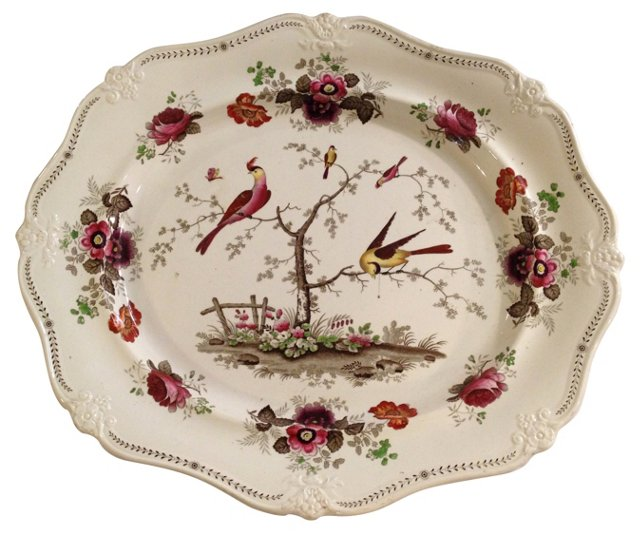 Brown Transferware Platter