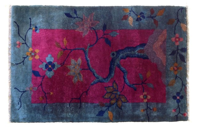 """Art Deco-Style Chinese Rug, 2'9"""" x 1'10"""""""