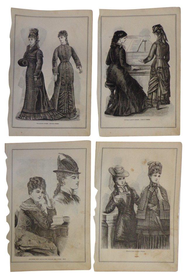Fashion Prints, 1878,    Set of 4