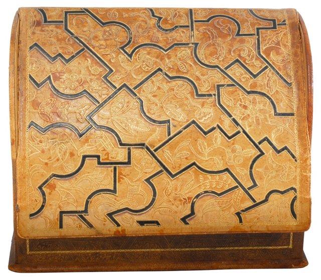 1920s Italian Tooled Leather Letterbox