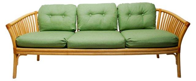 Rattan & Green Linen Sofa by Baker