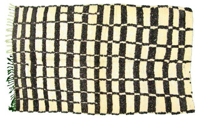 "Checkered Moroccan Rug, 7'4"" x 4'6"""