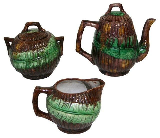 19th-C. English Majolica Tea Set, S/3