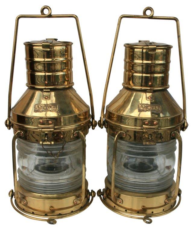 Brass Marine Lanterns, Pair