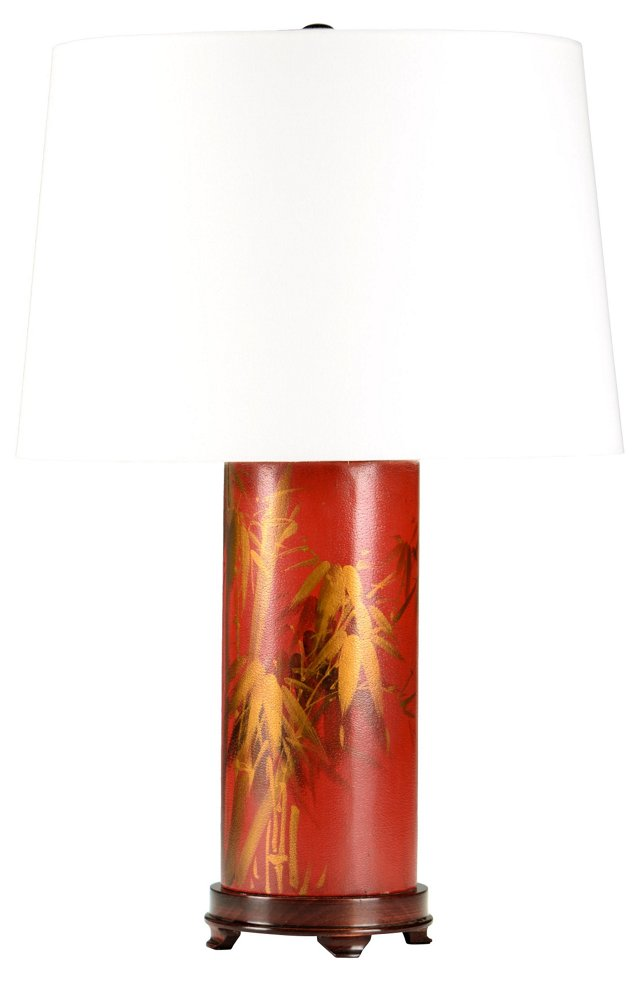 Red & Gold Leather Lamp