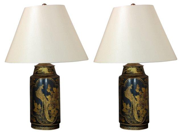 Black & Gold Lamps w/ Silk Shades