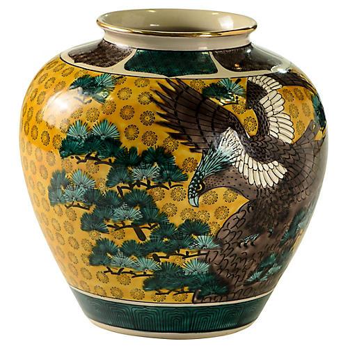 Signed Kutani Vase w/ Eagle