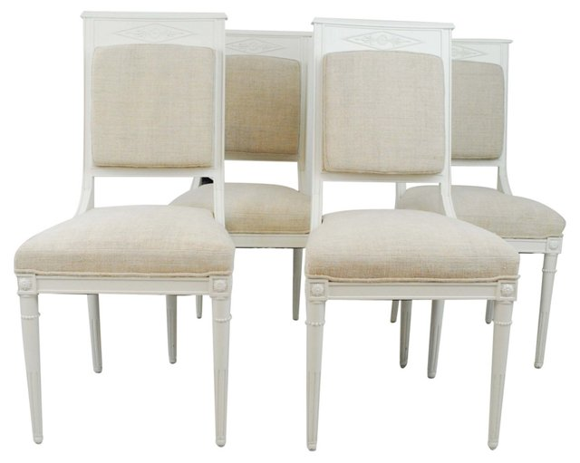 White Painted Chairs w/ Linen Seats, S/4
