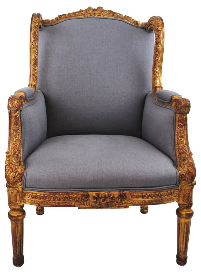 19th-C. Wingback w/ Linen Upholstery