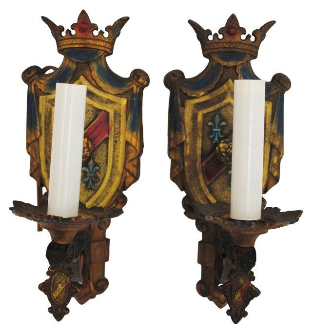 Crest Sconces, Pair