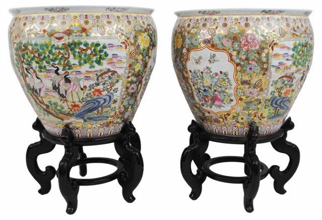 Ceramic Urns w/ Wood Stands, Pair