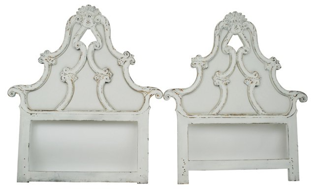 Carved Headboards, Twin, Pair
