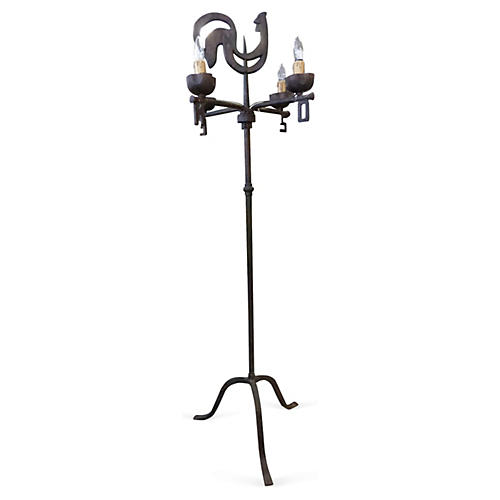Antique French Weather Vane Floor Lamp