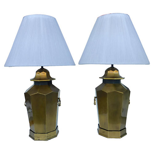 Brass Lamps w/ Custom Shades, Pair