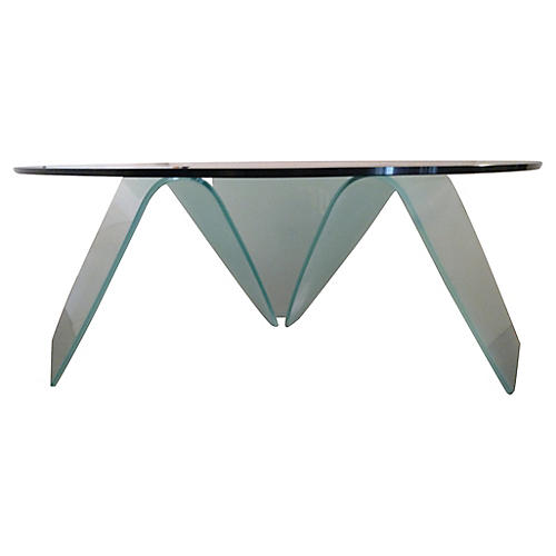 Organic Shaped & Frosted Glass Table