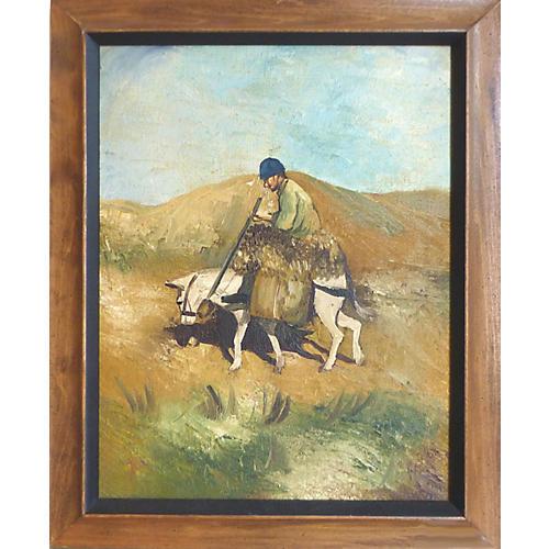 Midcentury Peasant Farmer & Mule