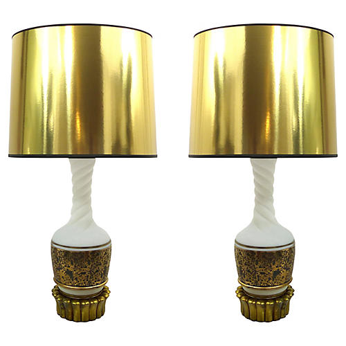 Midcentury White Glass & Gold Lamps, S/2