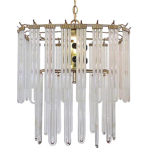 1970s Midcentury Modern Glass Chandelier