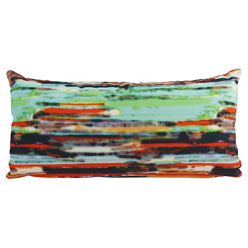 Striped Velvet Lumbar Pillow