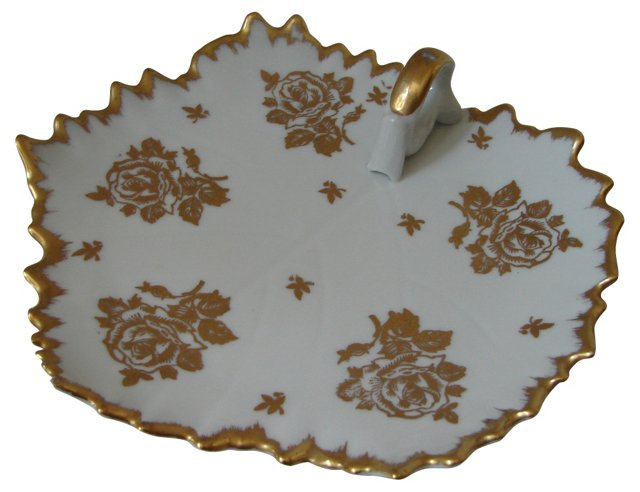 White & Gold French Leaf Tray